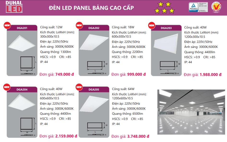 bảng giá đèn led panel DGA2xx Duhal