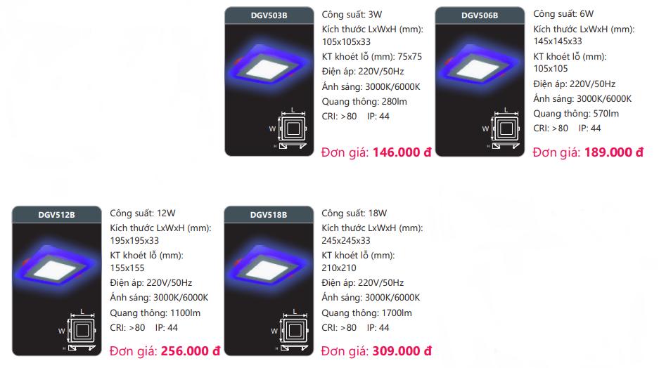 bảng giá đèn led panel màu DGVB Duhal