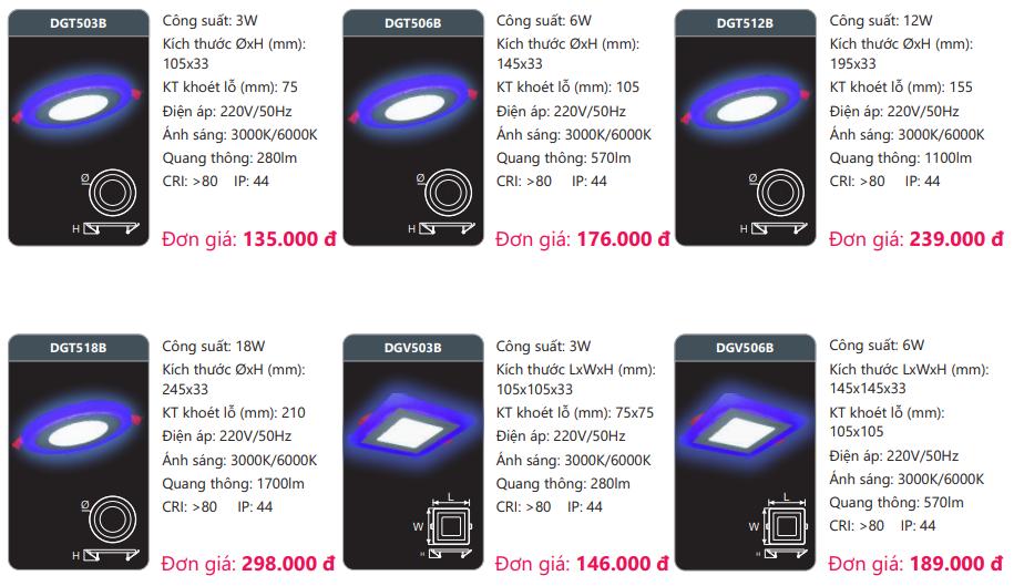 bảng giá đèn led panel màu DGTB Duhal