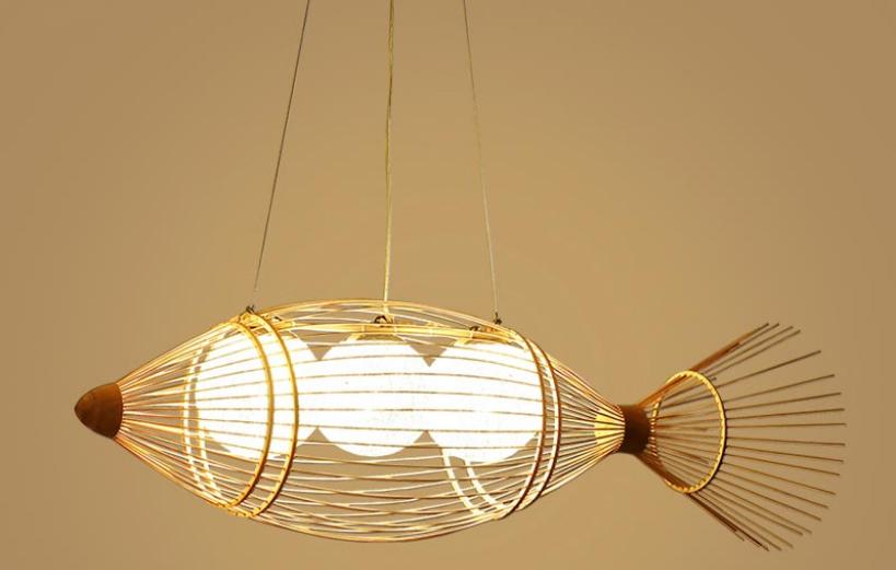 đèn trang trí chiếu sáng phòng bếp bằng mây tre đan