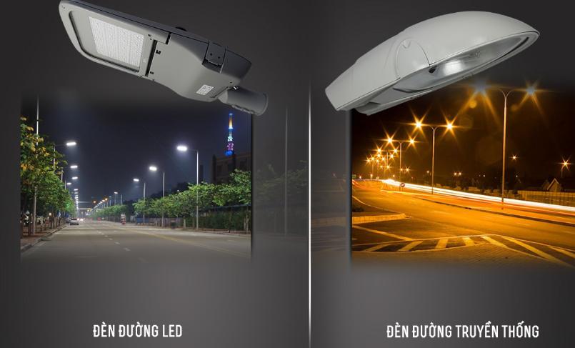so sánh sự khác nhau giữa đèn đường led và đèn đường truyền thống
