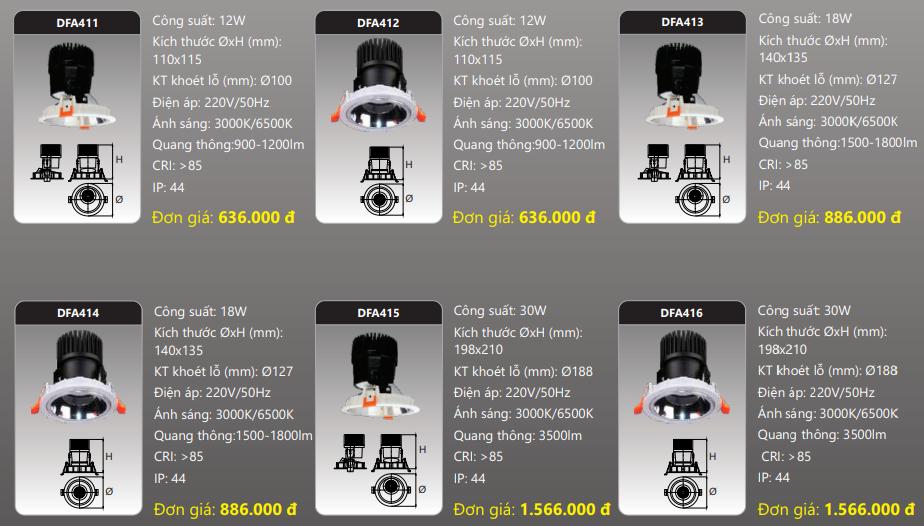 bảng giá đèn led downlight soptlight dfa4xx duhal