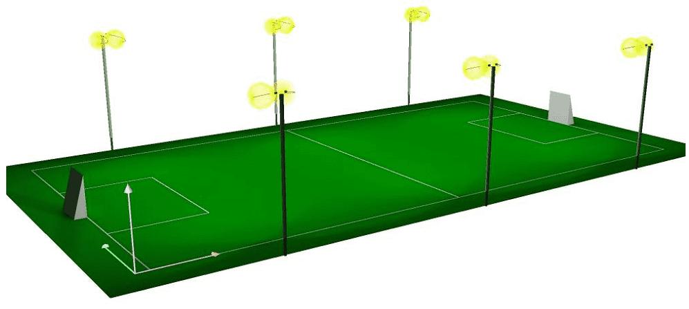 thiết kế hệ thống chiếu sáng sân bóng
