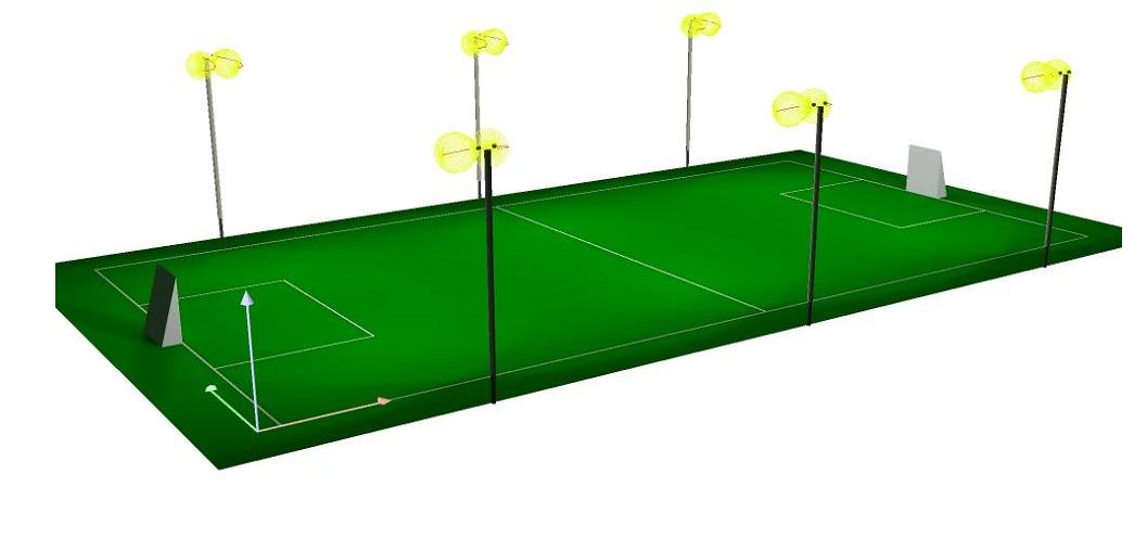 đèn chiếu sáng sân bóng đá mini 5 người
